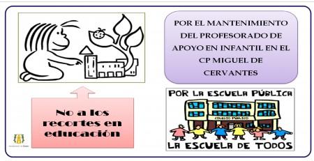 Cartel del Ayuntamiento de Olvera contra los recortes en Educación.