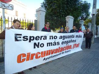 Protesta ante el Parlamento andaluz.