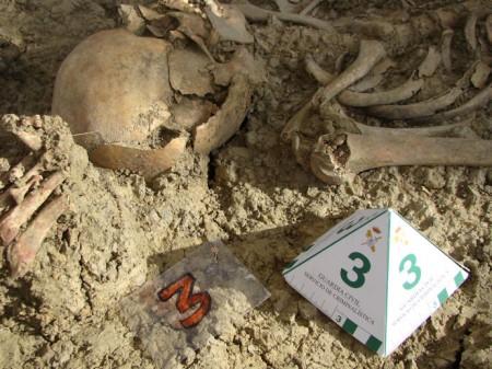 Detalle de restos humanos localizados en una de las fosas.