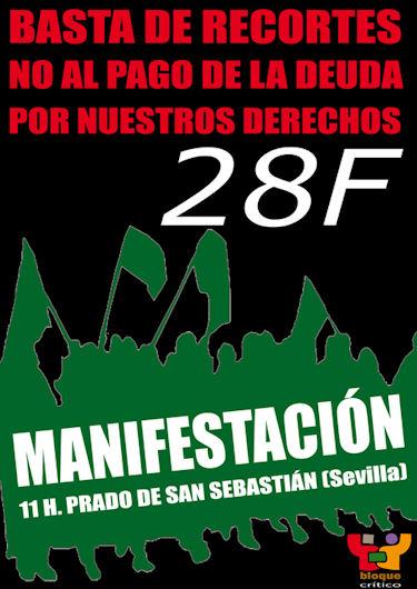 Cartel de la convocatoria de manifestación el 28-F.
