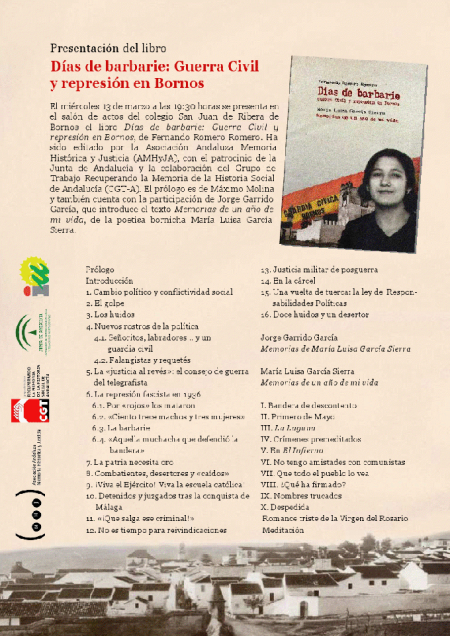 Cartel de la presentación del libro.