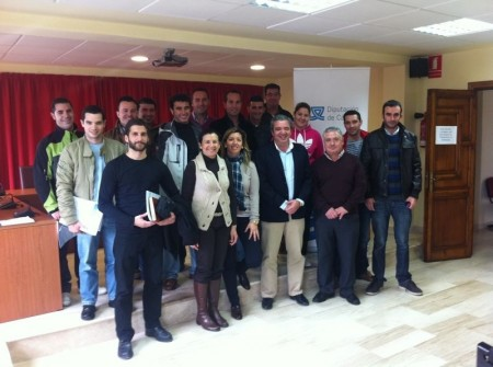 Ediles de la comarca participantes en la presentación.