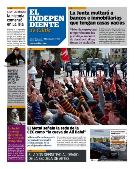 Portada de El Independiente de Cádiz del 10 de abril de 2013.