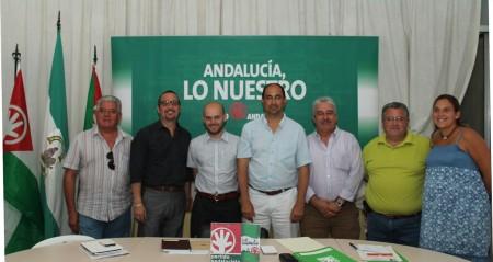 José Antonio Bautista, con otros representantes andalucistas de la comarca.