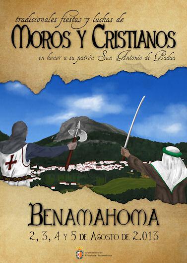 Cartel de las fiestas de moros y critianos, editado por el Ayuntamiento de Grazalema-Benamahoma.