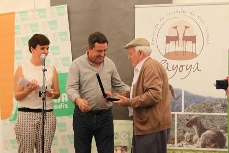 El presidente de la Diputación entrega un premio en la Feria de Ganado de Benaocaz.