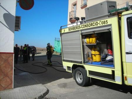 Los bomberos participantes en la extinción.