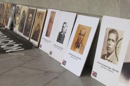 El grazalemeño José Sánchez Rosa, entre los retratos de víctimas de la represión mostrados al relator de la ONU (Foto: www.foroporlamemoria.org).