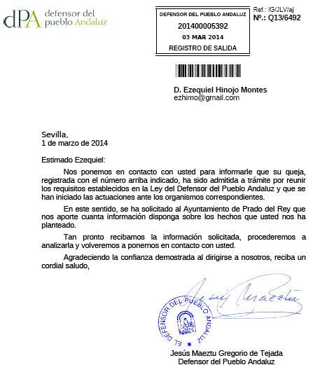 Escrito del Defensor del Pueblo.