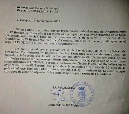 Escrito de la alcaldesa de El Bosque dirigido al grupo municipal socialista.