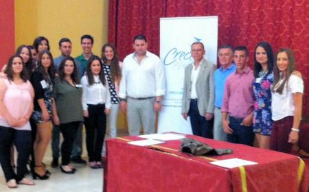 Participantes en la acción formativa, con el alcalde de Espera, Pedro Romero, el diputado provincial Eduardo Párraga y técnicos de Diputación.
