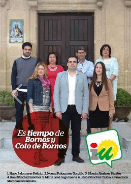 Hugo Palomares, aspirante a la alcaldía, y otros candidatos de Izquierda Unida de Bornos.