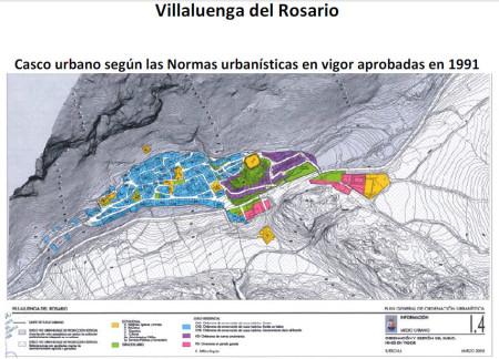 Casco urbano de Villaluenga según las normas urbanísticas de 1991.