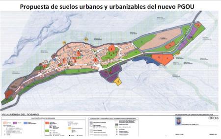Propuesta de nuevos suelos urbanos y urbanizables del nuevo PGOU de Villaluenga.
