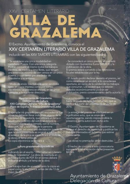 Cartel del Certamen Literario Villa de Grazalema.