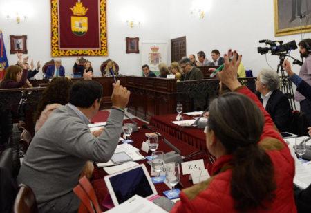 Una votación en el pleno de la Diputación, celebrado en Medina Sidonia.