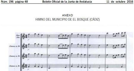 Partitura del himno de El Bosque.