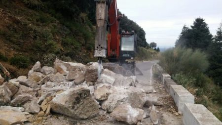 Maquinaria para la retirada de rocas.