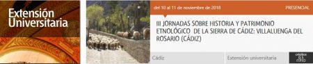 Jornadas de Historia y Patrimonio Etnológico de la Sierra de Cádiz, organizadas por la UNED, en Villaluenga los días 10 y 11 de noviembre de 2018