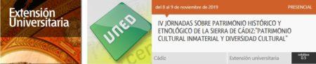 Las IV Jornadas sobre patrimonio histórico de la Sierra de Cádiz, en la UNED de Olvera los días 8 y 9 de noviembre de 2019
