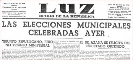 Recorte del periódico La Luz sobre las elecciones municipales parciales celebradas el 23 de abril de 1933.