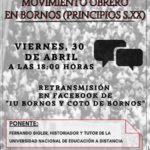 Bornos celebra el 1º de Mayo, Día del Trabajo, con una conferencia sobre movimiento obrero